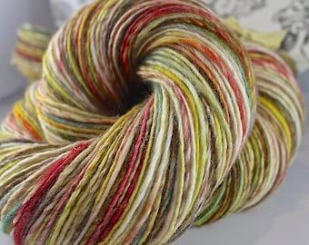 Handspun Yarn Gently Thick and Thin Single Merino and Tussah Silk  'Jujube'
