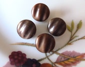 4 Antique Vintage Czech's Buttons, Small Brown Glass Buttons, Rippled,  Circa 1930's,  Button Jewelry, Rare, 4 in lot , Brown Glass Buttons