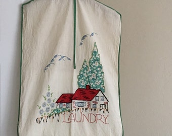 Vintage Laundry Bag Storybook Cottage Applique