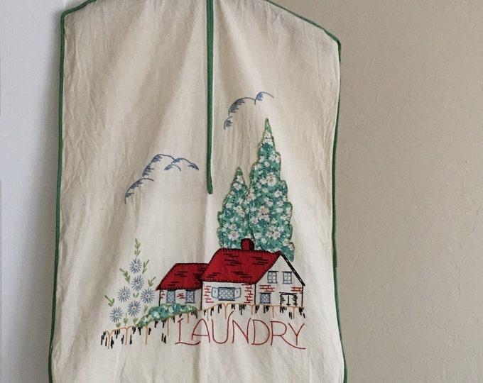 Vintage Laundry Bag Storybook Cottage Applique