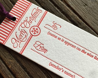 Letterpress Holiday Gift Tag Trio - Set of 6