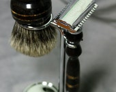 Shaving Kit African Blackwood Razor Badger Hair Brush w/ Tiger's Eye Inlay 2-in-1 Wooden Razor Graduation Gift Father's Day Wet Shaving