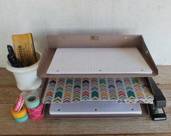Vintage Industrial Mid Century Metal Letter Sorter // Desktop Organizer // Letter Tray // Tan