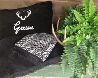 Cotton Velveteen Deer Antler Monogrammed Accent Pillow