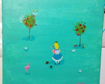 SALE. 50% OFF. Croquet - Original Painting. Day 110. Art by Lilly Piri. Alice in Wonderland. Flamingo. Cheshire cat