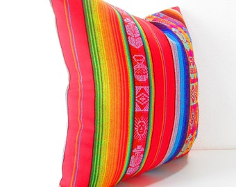 Tribal Pillows cover 20X20 Inch Aztec Mexican Ethnic Red Throw Boho Chic Decor Global Geometric Striped Black, blue, gold, white