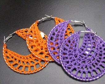 Purple or Orange Crochet Hoop Earrings