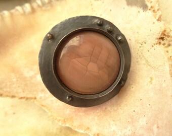 Dusty Rose Imperial Jasper Rustic Copper Ring