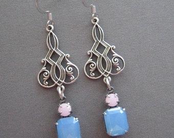 Dangle Earrings - Drop Earrings - Rhinestone Earrings - Vintage Earrings - Romantic Earrings - Romantic Jewelry - Blue Earrings - Summer