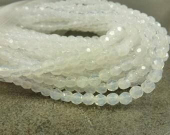 White Opal Czech Glass Firepolish Beads 4mm Faceted Glass 50pc