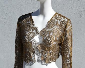 Vintage antique gold lace ART DECO bolero cropped jacket small original flapper 20's mini jacket by thekaliman