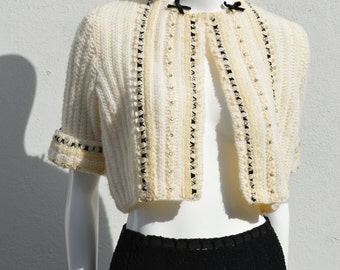 Vintage 50's dress hand knitted ensemble two pieces skirt and short cropped sweater jacket MINT size M by thekaliman