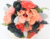 Wedding Cake Topper - Navy Blue, Coral Rose and Hydrangea Silk Flower Wedding Cake Topper, Wedding Cake Flowers