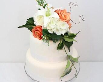 Wedding Cake Topper - Coral, White Rose, Hydrangea, Lily Silk Flower Cake Topper, Wedding Cake Flower, Peach Echo Wedding Cake Topper