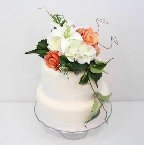 Silk Flower Wedding Cake Toppers: Wedding Cake Topper Coral White Rose Hydrangea Lily Silk