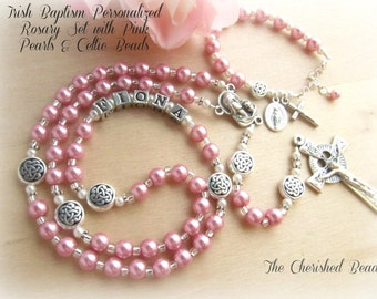 Irish Baptism Personalized Baptism Rosary Set with Pink Pearls and Celtic Beads