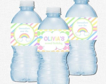 Pastel Rainbow Water Bottle Labels, Rainbow Party Decorations, Pastel Bottle Wraps, Rainbow Labels, Stripes and Polka Dots