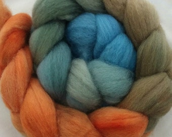 "BFL Hand Dyed Combed Top 4 Oz. ""Orange to Blue Gradient"""