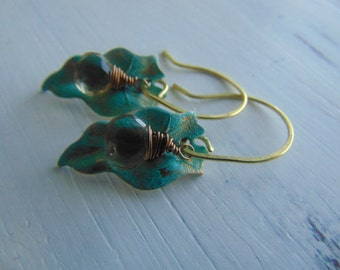 Lemon Quartz and verdigris Leaf Earrings