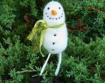 snowman Christmas ornament handmade needle felted wool winter decor