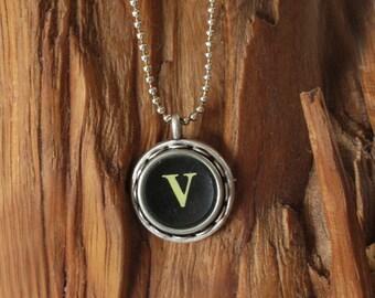 The Letter V Vintage Typewriter Key Necklace Pendant
