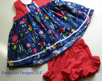 Girls Summer Top, Little Girls Top,Fourth of July Top,Toddler Top,Blue,Red,White,Sizes 12MO,18MO,2T,3T,4T,5T,6,7,8