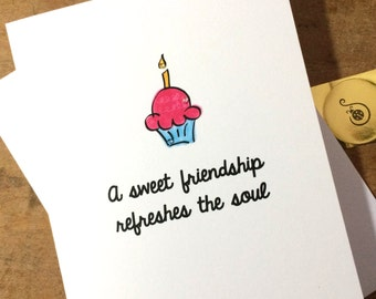 Christian Birthday Card, Cupcake Doodle, Proverbs 27:9 with sparkle made on recycled paper, comes with envelope and seal