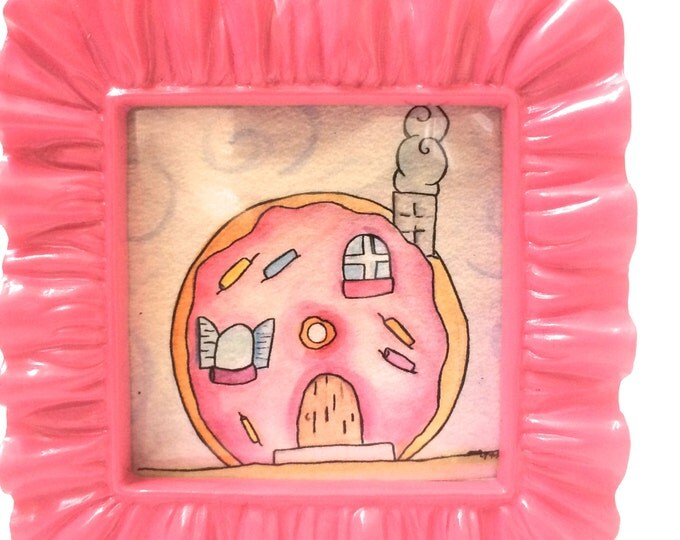 Mini Art, Donut Art, Doughnut Art, I Want To Live in A Donut House, in 3x3 frame, Tiny watercolor art measures 2.2 inches x 2 x 2 inches
