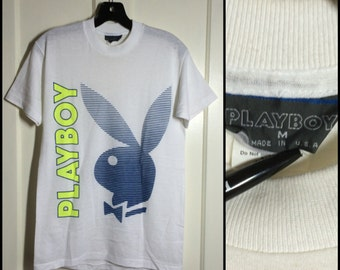 Vintage 1980's Playboy Bunny Stripe Neon print thin tshirt size Medium thin white shirt