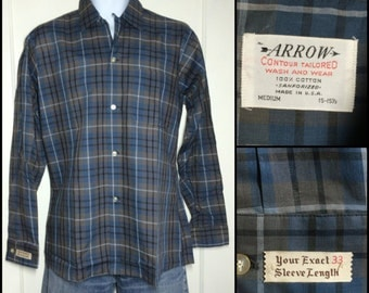 1950's Deadstock Vintage Arrow brand Shadow Plaid Loop Shirt size Medium Blue Brown NOS Sanforized all cotton made in USA