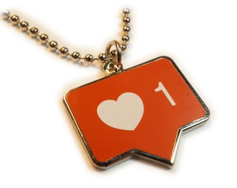 INSTALIKE Instagram Like Heart Button Icon Symbol Charm Pendant Necklace with Chain