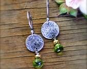 Peridot Gemstone Earrings in Oxidized Sterling and Fine Silver