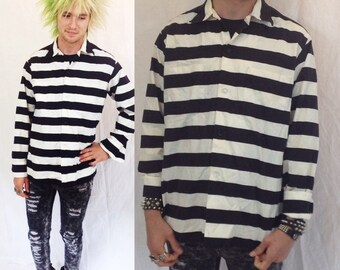 Vintage 80s Black and white JAIL SHIRT striped prisoner button down up prison pirate mens size small medium womens inmate uniform 60s 70s 90