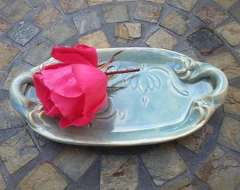 Ceramic Lotus Dish with Handles; Jewelry Dish, Soap Dish, Trinket Dish or Butter Dish in Opal Blue
