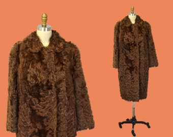 Rocker fur coat hipster CHOCOLATE BROWN curly rock and roll music 1960s outerwear glam IngridIceland Vtg festival