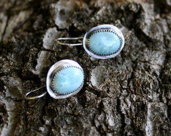 Larimar Sterling Silver Oxidized Bohemian Tribal Sky Blue Southwestern Dangle Statement Earrings