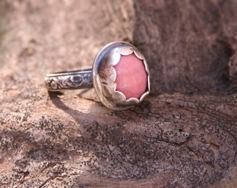 Rhodonite Sterling Silver Oxidized Boho Statement Southwestern Silversmith Pink Ring