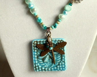 Dragonfly Necklace,Turquoise and Freshwater Pearl Necklace,Long Necklace