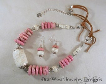 Western Cowgirl Necklace Set - Chunky Pink and Cream Howlite