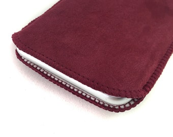 Marsala red suede phone case, made to measure; real leather