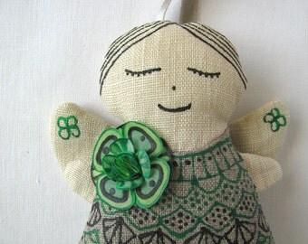 lucky clover dreamy angel - linen ornament