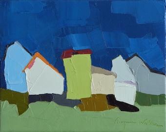 Under the Harvest Moon- Oil Painting, 8x10, On Canvas, Original Landscape Painting- Barn Farmhouse