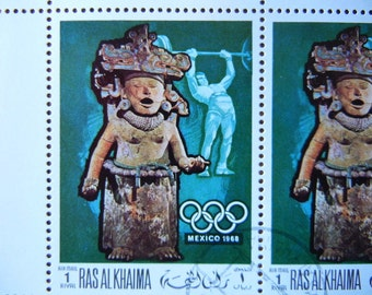 Vintage postal stamps Mayan Statue with the Olympic symbol from 1968 for art projects or scrapbooking or collection set of 4