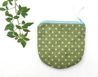 Zipper Coin Pouch/ Fabric Coin Zipper purse/ Zipper Money Change Purse/ Gift Idea/ Linen White Polka Dot on Green