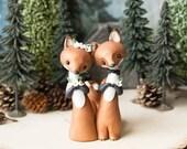R E S E R V E D for Anna - Red Fox Wedding Cake Topper by Bonjour Poupette