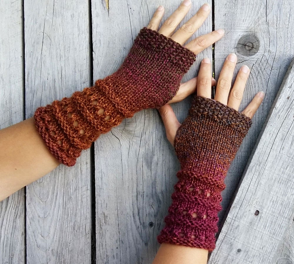 Fingerless Gloves Long Knitted Mittens Womens Arm Warmers-9145