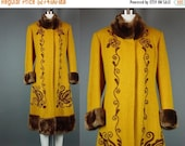 """40% OFF Vintage Coat Winter Embroidered Mustard Hippie Boho Chic Bohemian Coat Faux Fur Yellow Gold Princess M B 38"""""""