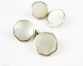 Vintage Sterling Silver Cuff Links. Mother of Pearl Octagonal Shape Late Art Deco Man's Cufflinks.