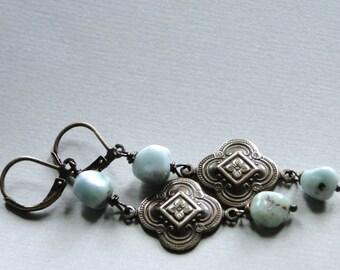 Gemstone Earrings / Dangle Earrings / Larimar Gemstone Earrings / Boho Chic Earrings / Jewelry / Accessories / Gift for Her