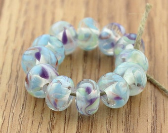 Sheribeads Glass Beads 12 Va Va Bloom Transparent Swirl Spacers Lampwork